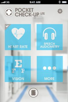 Check up app / Heart rate - Speech audiometry - Vision Color test - astigmatism - Memory - Personnality etc #iPhone #iOs #Medical