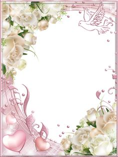 White Roses Pink PNG Photo Frame - suitable for wedding card topper Rose Frame, Flower Frame, Boarders And Frames, Printable Frames, Frame Background, Party Decoration, Borders For Paper, Png Photo, Decoupage Vintage