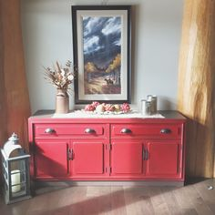 Beautiful oak cabinet in FAT Paint's Red Barchetta, love this , doing my dining room furniture in this colour!