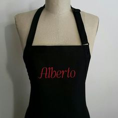 Men's Personalized Apron / Black Apron with Red embroidery thread / Unisex aprons / Hostess gift idea . by SouthernA on Etsy