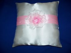 """White Wedding  Satin Ring Bearer Pillow  With Turquoise Rosette (9"""" X 9"""") by SewUniqueShop on Etsy"""
