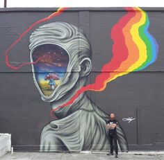 Doty with his work in Oakland, CA (LP)