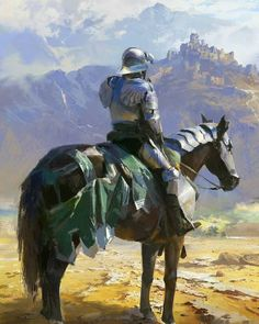 armor blue sky breastplate castle cloud cloudy sky day facing away from behind full armor gauntlets greaves helmet highres horseback riding knight ling xiang original outdoors plate armor reins riding saddle shoulder armor signature sitting sky solo s Fantasy Concept Art, Fantasy Armor, Fantasy Character Design, Character Art, Medieval Knight, Medieval Fantasy, Armadura Medieval, Knight Art, Armor Concept