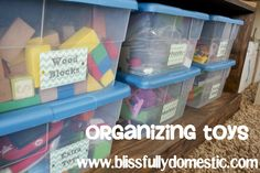 Simple and clear is the way to go when organizing toys (and encouraging children to put them away)