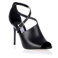 Jimmy Choo Leigh Black Leather Sandal (485 CAD) ❤ liked on Polyvore featuring shoes, sandals, heels, black, black strappy sandals, black heeled sandals, strap heel sandals, black leather sandals and black sandals
