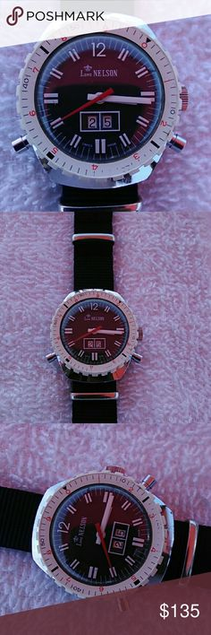 Vintage rare lord Nelson diver mens watch Very rare model with date White rotating bezel   Stainless steel case NATO black band  Works perfect Nice black dial with white markers lord nelson Accessories Watches