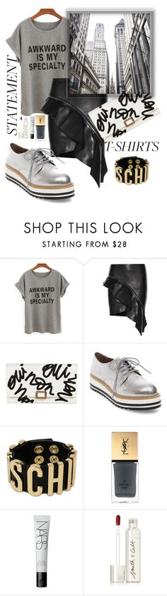 """""""awkward is my specialty"""" by nineseventyseven ❤ liked on Polyvore featuring Yves Saint Laurent, Roger Vivier, Steve Madden, Moschino, NARS Cosmetics, Smith & Cult, grey, platform, leatherskirt and statementtshirt"""
