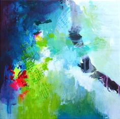 Pintura abstracta original pequeño arte moderno por ARTbyKirsten
