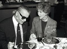 Betsy Bloomingdale with Karl Lagerfeld, 1992.