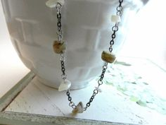 Creamy Taupe Black Chain Necklace by sewstacy on Etsy, $23.50