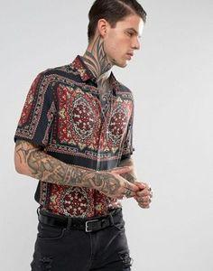Camisa de viscosa de corte estándar con estampado de bandana de ASOS