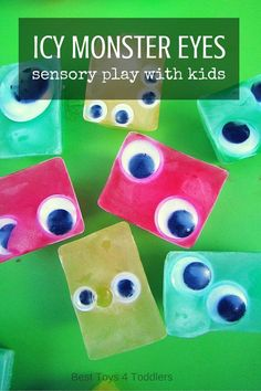 Eye Monsters Sensory Play for Kids Awesome and simple sensory play idea for kids to try this Halloween - Icy Monster Eyes!Awesome and simple sensory play idea for kids to try this Halloween - Icy Monster Eyes! Monster Activities, Sensory Activities, Preschool Activities, Summer Activities, Family Activities, Indoor Activities, Halloween Activities For Toddlers, Preschool Workbooks, Sensory Bins