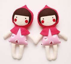 Small pink Riding Hood doll for babies and little girls. por blita, $37.00