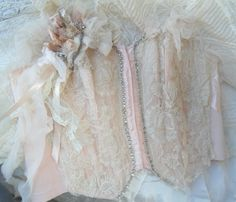 Vintage Peachy Pink Satin Corset Handsewn upcycled Bustier 32B by Michelle Renee