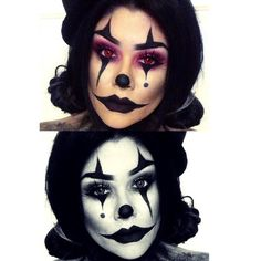 Clown makeup for halloween cute\/sexy\/creepy all at the same time! Halloween Clown, Halloween Horror Nights, Halloween Inspo, Halloween Looks, Spirit Halloween, Halloween Costumes, Halloween 2014, Scary Clown Makeup, Creepy Clown