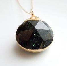 Emerald Green Sunstone Necklace in Gold, Goldstone
