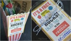 Teacher Appreciation Gift Idea: Gift a Redbox Code (Free Printable Card) - Cheap Christmas Gifts, Teacher Christmas Gifts, Teacher Gifts, Math Teacher, Popcorn Gift, Free Printable Gift Tags, Teacher Appreciation Week, Craft Projects For Kids, Student Gifts