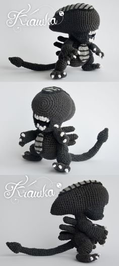 Alien xenomorph crochet pattern by Krawka - best geek crochet pattern ever!, alien franchise, predator, prometheus, facehugger, chestburster, ridley scott inspired