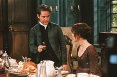 L1.1 'Granted there was that one sour note early on when she had turned down her cousin's pompous marriage proposal. Mr Collins' speech left no doubt that he was planning to display her as his betrothed at the ball.' This pic - Tom Hollander and Kiera Knightley in Pride and Prejudice 2005.