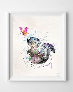 Bambi Print Flower the Skunk Disney Watercolor Art by InkistPrints