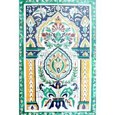 <li>Enrich your home decor with a mosaic 'Moroccan Arch Gate' ceramic wall mural <li>Stylish wall mural features 24 hand-painted tiles <li>Decorative tiles are handmade in Tunisia