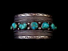 100g Vintage Navajo Sterling Silver Cuff Bracelet w Heavenly Kingman Turquoise Nuggets! Magnificent Silver Work! Wonderful Big Piece!