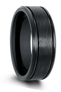 Mens black tungsten wedding band with a brushed center, channel grooves, and high polish black beveled edges. I love the modern look of this wedding band.