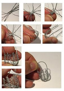 Lil'La: Metallilankahommia - Metal wire work (could be used to hold a captured bead in top closed after bead inserted) Miniature Crafts, Miniature Dolls, Wire Crafts, Jewelry Crafts, Wire Wrapped Jewelry, Wire Jewelry, Jewellery, Art Fil, Vitrine Miniature