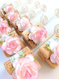Mint Lace and beautiful blush pink roses make these wedding table number stands oh-so special!