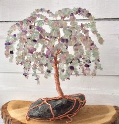 Weeping Willow Wire Tree, Fluorite Tree of Life Sculpture, Fluorite & Copper wire Tree Sculpture, Gemstone Tree Decor by NorthernTwistedArt on Etsy https://www.etsy.com/listing/186225007/weeping-willow-wire-tree-fluorite-tree