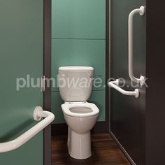 Close-Coupled Ambulant WC Pack. Comes with Raised height Toilet Pan, Cistern, Toilet Seat, and Grab Rails with Concealed Fixings.