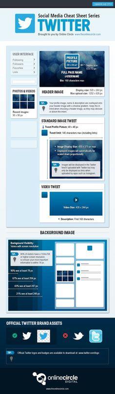 Infografía con las dimensiones oficiales de todas las imágenes de Twitter. #Infografía en inglés. Nombre original: Social Media Cheat Sheet Series: Twitter