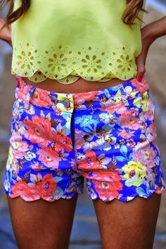 Blue base ladies floral shorts