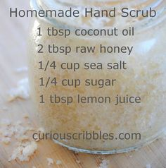 Natural DIY Face Masks : Homemade Hand Scrub. I use Young Living Lemon essential oil in place of lemon ju