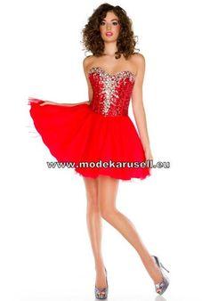 Prinzessin Trägerloses Organza Cocktailkleid in Rot