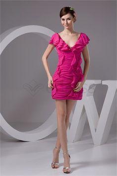 Short/ Mini Pleats V-neck Chiffon Silk-like Satin Sweet 16 Dress