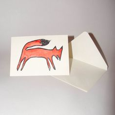 Fox Card Blank Original Linocut Print Hand Coloured Blank Greeting Card With Envelope A6