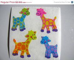 Adorable Vintage Sandylion Pearl Finish Polka Dot Giraffe Stickers - 80's Opal…