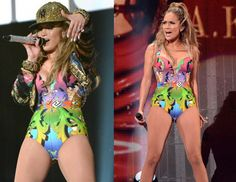 Jennifer Lopez Versace Versace Bronx Concert:  JLO donned a hater Versus Versace one piece suit. Later she accessorize the look with a bedazzle hat, and thick gold jewelry reminiscent of her days in the bronx and her most popular 'Jenny For The Block' moments.