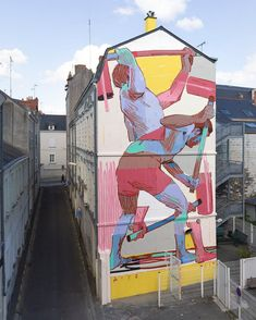 Aryz in Angers, France, 2019 Installation Street Art, Murals Street Art, Street Art Graffiti, Mural Painting, Mural Art, Paintings, Artist Painting, Hybrid Art, Building Art