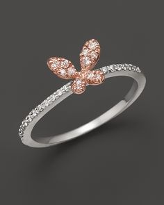 Diamond butterfly ring set in 14K rose & white gold, 0.20 ct.