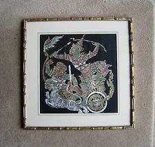 vintage a glazed & framed Chinese oriental paintings on fabric warrior hunter