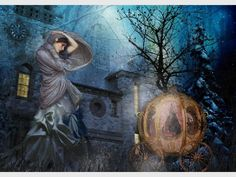 """Tiffini Elektra X, Cinderella Illustration [with Cinderella and her magical coach in the background] """"A dream is a wish your heart makes when you're fast asleep. In dreams you will lose your heartaches. Whatever you wish for, you keep. Have faith in your dreams, and someday, your rainbow will come smiling through. No matter how your heart is grieving, if you keep on believing, the dream that you wish will come true."""""""