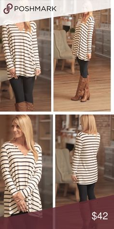Beyond Basic Striped Tunic in Navy This super soft classic gray striped tunic with suede along the V neck will be a go to favorite as it is so versatile and neutral you can wear it with so many different things. Dress it up or down. It is also great with leggings or skinny jeans. Made in the USA. 95% Rayon 5% Spandex. Sizes Small (2/4), Medium (6/8) and Large (10/12). Shop Ophelia's Tops Tunics