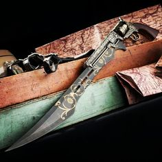 """Otherworldly allure... The """"Otherworld"""" revolver / sword hybrid is dripping with sultry steampunk flair. You can be sure this is one of the coolest things you'll every lay eyes upon! #steampunk #gun #pistol #sword #knife #fantasyart #cool"""