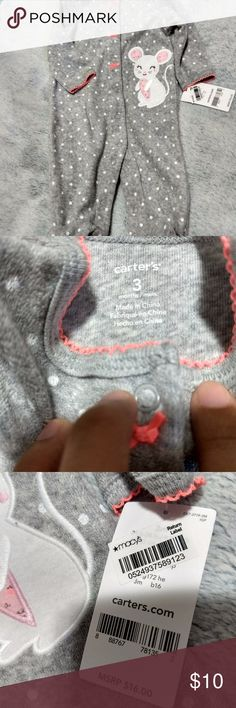 Carter's grey and pink polka-dot footed pajamas Carter's gray and pink footed sleepwear. Has either a bunny or a mouse design in front.   Size: 3 months.   New with tags. In perfect condition.   #NWT #footedpajamas # Carter's Pajamas Sleep Sacks