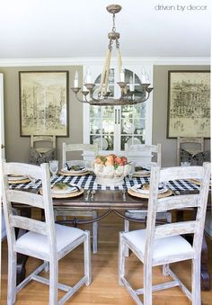 Simple fall dining table with fresh peaches as centerpiece - part of full fall…