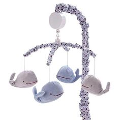 Plush Blue and Gray Whales Nautical Infant Baby Boys Nursery Musical Mobile #CrownCrafts