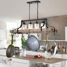 Shop Blakes Faux-Wood Metal Kitchen Island Chandelier with Pot/Pan Hooks and Seeded Glass Shades - On Sale - Overstock - 27654383 Metal Kitchen Island, Kitchen Island Chandelier, Kitchen Island Lighting, Kitchen Island Pot Rack, Pan Rack Hanging, Hanging Pans, Pan Hanger, Pots, Rectangle Chandelier