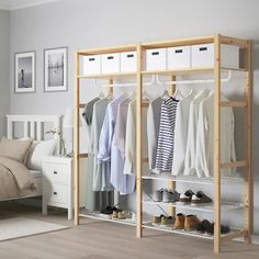 IKEA - IVAR, Shelving unit with clothes rail, Untreated solid wood is a durable natural material which is even more hardwearing and easy to look after if you oil or wax the surface. You can move shelves and adapt spacing to suit your needs. Ikea Shelving Unit, Metal Shelving Units, Storage Shelving, Closet Bedroom, Bedroom Storage, Bedroom Decor, Living Furniture, Home Furniture, Furniture Design